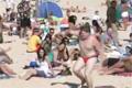 Dance mob at the beach
