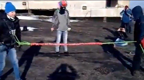 Russian Bungee Fail Drags Guy Off Roof
